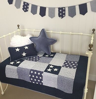 2 pc Baby Boys Cot Quilt & Cushion Lachlan Navy Nautical Stars Nursery Bedding