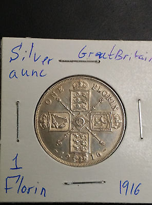 Great Britain UK 1916 Florin Silver Aunc Coin George V
