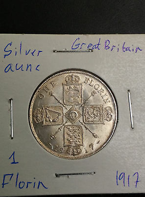 Great Britain UK 1917 Florin Silver Aunc Coin George V