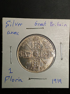 Great Britain UK 1919 Florin Silver Aunc Coin George V