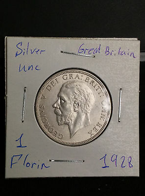 Great Britain UK 1928 Florin Silver Unc Coin George V