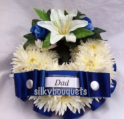 Artificial Silk Funeral Flower Wreath Ring Chrysanthemum Floral Tribute Memorial