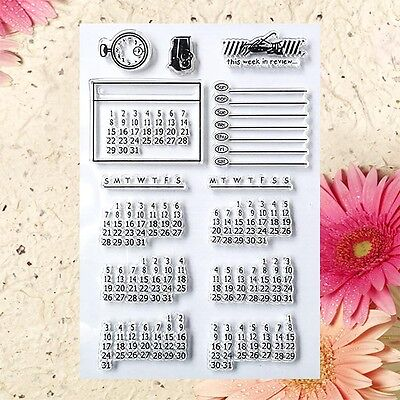 NEW Transparent DIY Calendar Week Month Stamp Cling Sheet Seal Craft Scrapbook