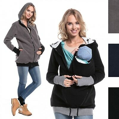Happy Mama. Women's Maternity Fleece Hoodie Carrier Removable Insert. 057p