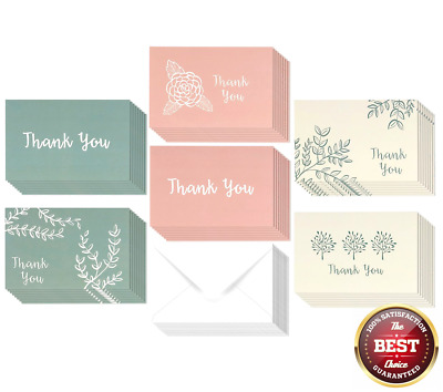 48 pack thank you greeting cards bulk box set blank on the inside 6 floral - Bulk Greeting Cards