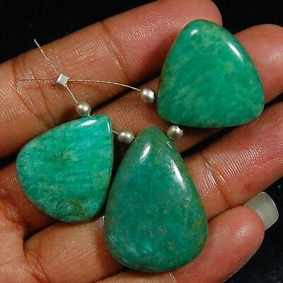 75 Cts Aaa 100% Natural Designer Drilled Bead Amazonite Loose Gemstone Lot 3 Pc