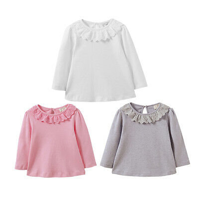 3Colour Todder Infant kid Girls Long Sleeve T-shirt Tops Lace Ruffles Clothes