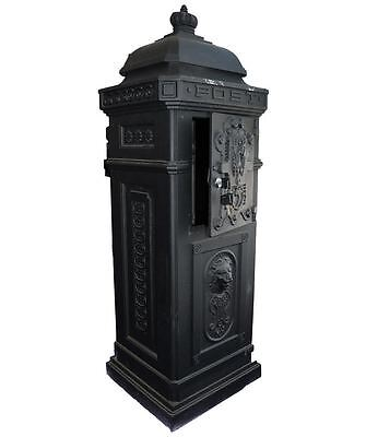 Antique Floor Standing Post Box Letterbox Parcel Box Cast Aluminium Vintage Mail