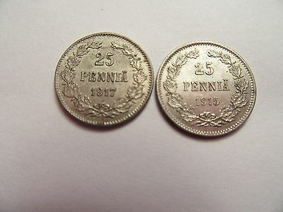 TWO Finland silver 25 Pennia, 1 1915 & 1917, good details