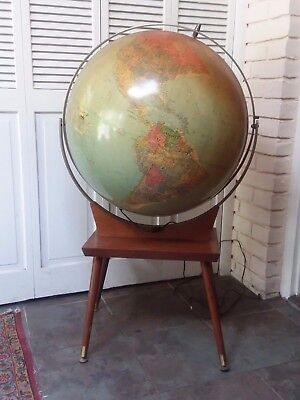 "Vintage 24"" Replogle Illuminated Library Floor World Globe Lighted Map Retro Old"
