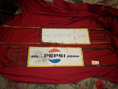 Set of 2 Vintage 1968 Pepsi Cola Door  Push Adjustable Stout Sign Company