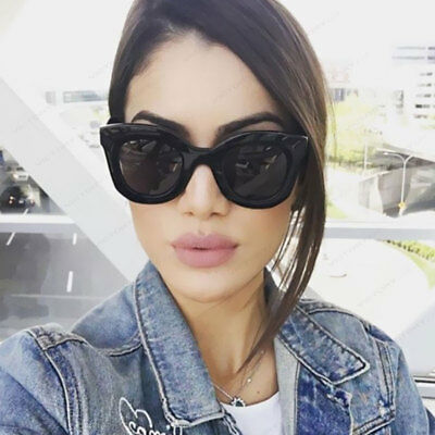Kim Kardashian Sunglasses Oversized Top Flat Black Women Celine Fashion Cat Eye