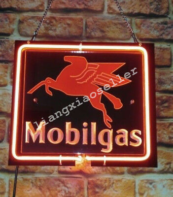 Mobil Pegasus Flying Horse 3D Acrylic Beer Bar Gas Station Real Neon Sign light