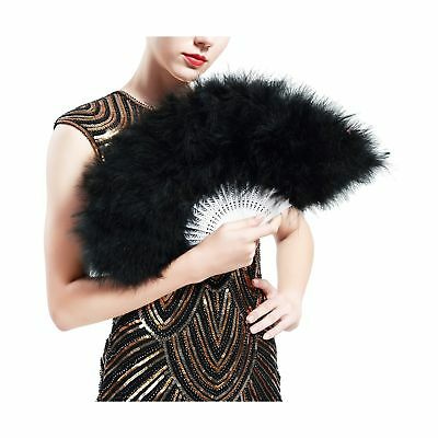 BABEYOND Roaring 20s Vintage Style Folding Handheld Marabou Feather Fan Flapp...