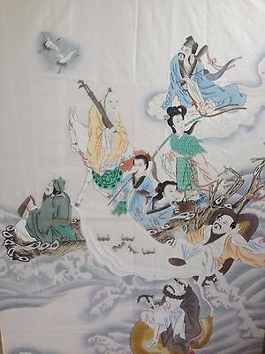 Republic period Chinese large hand painting on silk mythological characters