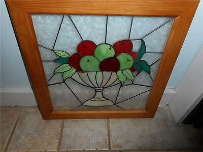Gorgeous Leaded Framed Stained Glass Window ~  Fruit Bowl With Fruit