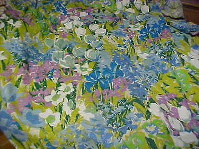Vintage 1960's Floral Chintz Pattern Twin Bed Cover Fine Linen Material Tulips +