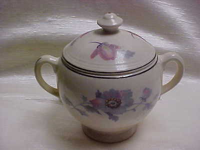 Vintage 1950's Salem China Bryn Mawr Covered Sugar Bowl Pink and Gray Flowers