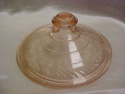 Vintage 1930's Pink Depression Glass Floral Cut Design Candy Dish Cover/lid