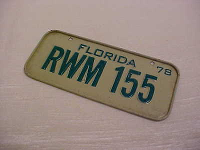 1978 Toy Cereal Box Premium Green White Florida License plate RWM 155 number