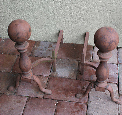 1800s Bradley and Hubbard, B&H Andirons Antique, Cannonball Style, NICE!