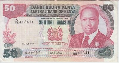 KENYA BANKNOTE P22d-3411,  50 SHILLINGS 1 JUL 1987, VF