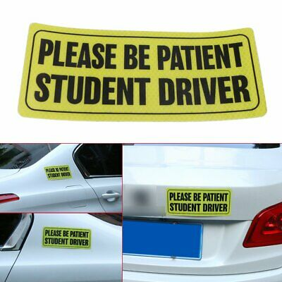 """Reflective Magnet Safety Decal Vehicle Signs """"Please Be Patient Student Driver"""""""
