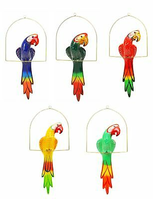 "Ceramic Hanging Macaw with Perch-24.5""H, Multi-color. Hand Painted."