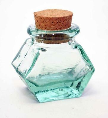 Set of 6, Spanish Green Recycled Glass Mini Spice Jars with Cork, Hexagon Shape-