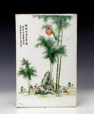 Old Chinese Porcelain Tile Plaque With Scene Of Figures In A Landscape