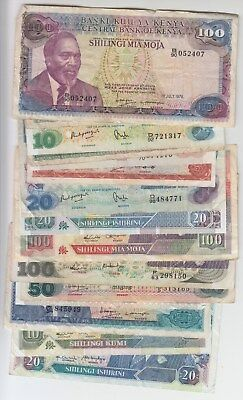 Kenya Banknote Lot 15 Different Avg. Fine +