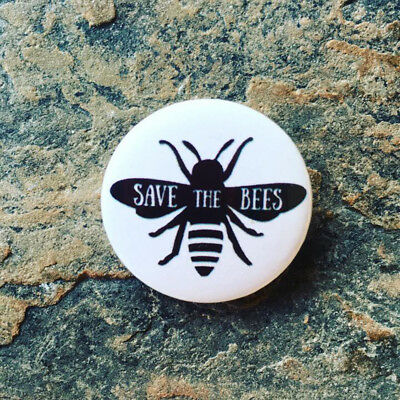 Save The Bees, Pin Badge, 25mm, Gifts for Vegan, Animal Rights
