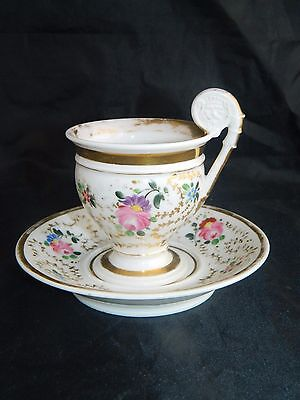 Antique French Empire old Paris porcelain cup and saucer hand painted flowers