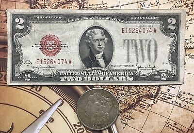 (1) 1921 Silver Morgan Dollar & (1) 1928 $2.00 United States Note Red Seal