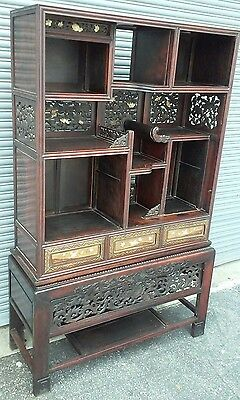 Antique Japanese Period Rosewood Carved Cabinet Chest Meiji Furniture 19th C