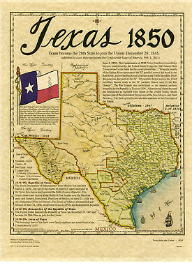 Map of Texas 1850 by Harvey Fletcher