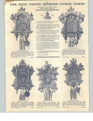 1910 PAPER AD 3 PG GK Black Forest Hand Carved Imported Cuckoo Clocks Quail
