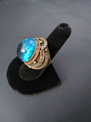 Women Vintage Style Sterling Silver Blue Aquamarine Cocktail Ring Size 7.5