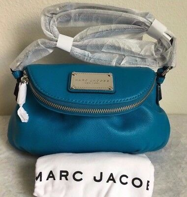 NWT!! Marc by Marc Jacobs Classic Mini Leather Messenger Bag $298 TURQUOISE