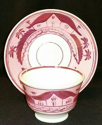 Early 19th Century English Porcelain Pink Luster House pattern Tea Bowl & Saucer