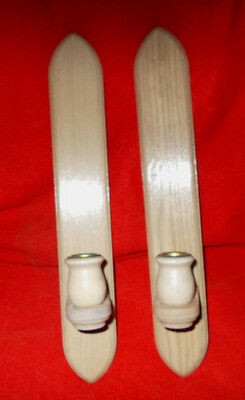 """Pair of white stained oak wood candle holder wall sconces, 14 1/2"""" high"""