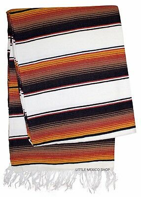 SERAPE Mexican Blanket - CREME RUSTIC BROWN - SOUTHWESTERN 5' x 7' Serape Throw