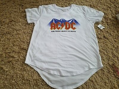 Juniors SZ M AC/DC For Those A.bout To Rock Hi-Lo T-Shirt~NeW~
