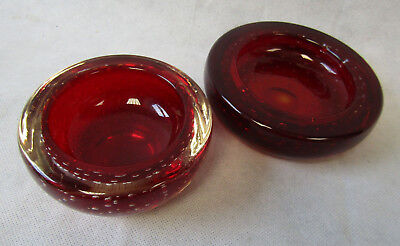 Vintage Retro 1960s Two 2 Whitefriars Ruby Red Controlled Bubble Glass Bowl Dish