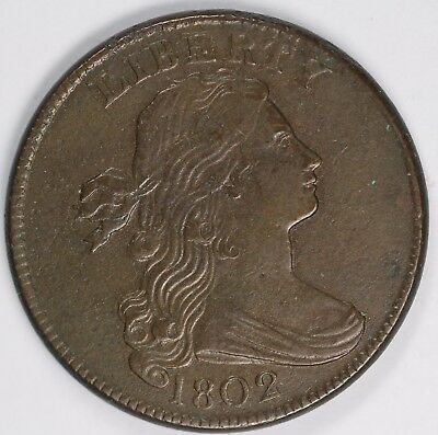 1802 1c Draped Bust S-235 Large Cent UNSLABBED