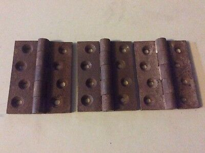 """Antique Cast Iron Door  Hinges  3 1/2"""" There A Set Of 3"""