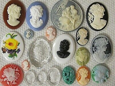 BIG LOT CAMEOS VTG UNUSED FLAT-BACKS SETS x- Large & Small FINDINGS 1950s JAPAN