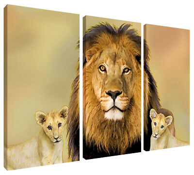 LION KING Cubs Canvas Wall Art 3 Panel Split Picture Print also ...