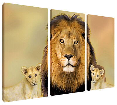 5 PANEL COLORFUL Lion Canvas Print Wall Art Painting Picture Home ...