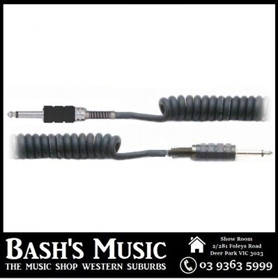 Australasian OCC20 Coiled Cable 20FT Curly Guitar Lead Black